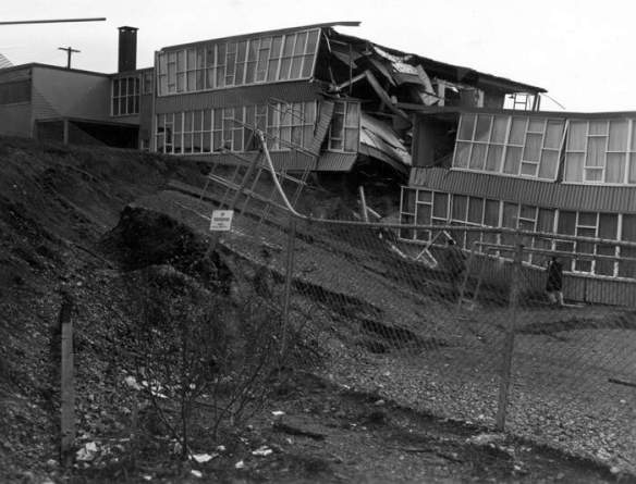 Alaska Earthquake March 27, 1964. Wreckage of Government Hill...